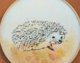 Hedgehog embroidery hoop. Cute. 7 inch. Country home decor.