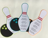 Bowling Party - Bowling Pin and Ball Invitation Cards - Set of 10 Invitations with white envelopes