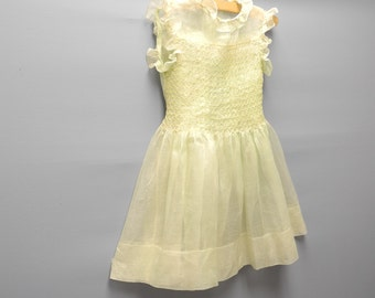 Vintage Baby Clothes, 1920's Pale Green and Yellow Organdy Baby Girl Dress, Vintage Baby Dress, Green Baby Dress, Size 3T-4T