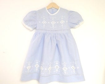 Vintage Girls Clothes, 1950's Light Blue and White Handmade Girl's Dress, Vintage Girl's Dress, Blue Girl's Dress, Size 5