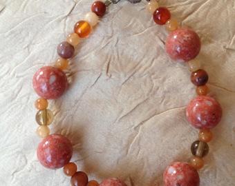 Orange You Glad... Handmade Bracelet Featuring Round, Orange Stone Beads