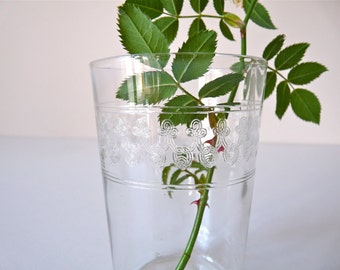 French Antique Tumbler Thin Glass Lovely french Engraved Glass tumbler - can be a vase - 19th century