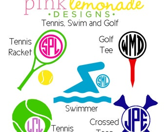 Tennis Monogram Vinyl Decal, Swimmer Monogram Decal, Swim Team Monogram Decal, Golf Monogram Decal