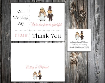 Bride and Groom 100 Wedding Thank You Notes