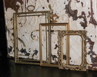 Ornate Hollywood Regency Collection of 3 Vintage Table Top Filigree Frames - Shabby Chic Easel Back Glass