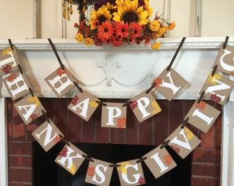 Happy Thanksgiving Banner / Fall hostess Gift / Thanksgiving Decorations / Thanksgiving Mantle Banner / Fall Garland / Thanksgiving Decor