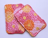 Quilted Unsponge with big pink flowers, Set of two unsponges, Washable Sponge, Eco-Friendly Reusable Sponge