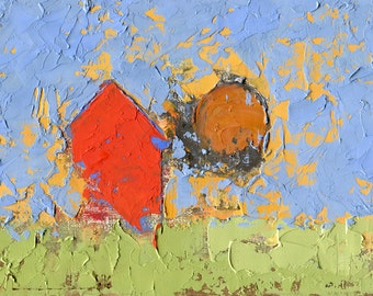Abstract Landscape Painting by John Shanabrook - 5 x 7 - Flick Liked Being at Home