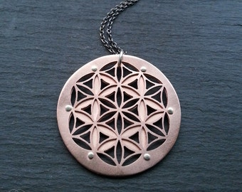 Double Layer Flower of Life Pendant - oxidised copper - Handcrafted Sacred Geometric Jewellery