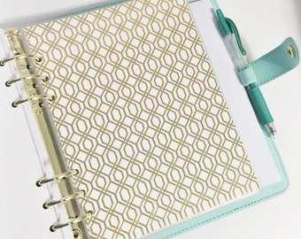 A5 Size Gold Foil Hexagon Design Laminated Dashboard Filofax Large Kikki k Planner