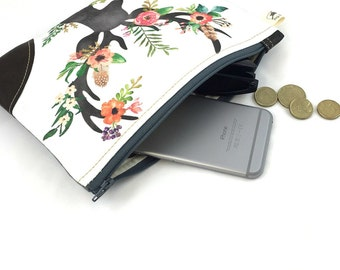 Floral deer clutch purse, Bags bymeg original. Zippered purse. Genuine leather corners.