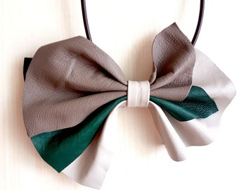 Leather Statement Necklace, Bib Necklace, Leather Bow Necklace