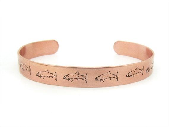 Father 39 s day gift fishing mens bracelet copper for Mens fishing bracelet
