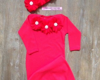 Baby's 1st Christmas, Newborn Girl Take Home Outfit, Red Baby Gown & Hat Newborn Winter Outfit, Hospital Take Home Outfit, Red Baby Layette
