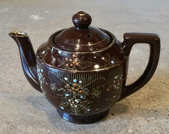 Vintage Redware Handpainted Japanese Teapot, Chocolate Brown,  Gold Edging