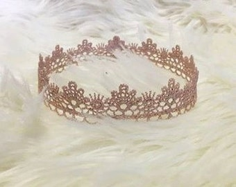 Newborn Crown, Sweetest Little Lace Crown Hand Painted in Pale Pink, Newborn Photography Prop, Baby Crown