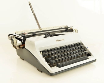 """Vintage Olympia SM9 Deluxe Two-Tone Manual Portable Typewriter with Oversize 13"""" Carriage, Papers, Case, West Germany"""