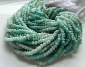 """13"""" strand shaded RUSSIAN AMAZONITE faceted gem stone rondelle beads 3.5mm - 4mm blue green aqua"""