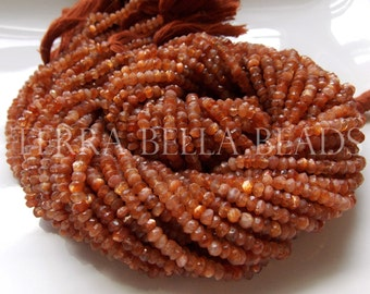 "13"" strand deep orange AAA AFRICAN SUNSTONE faceted gem stone rondelle beads 3mm - 3.5mm"