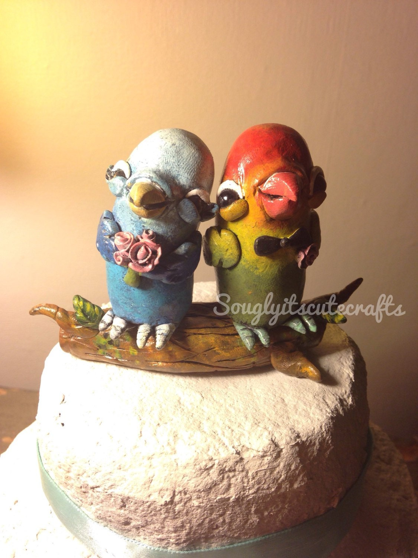 Animal Wedding Cake Toppers love birds Clay figurines