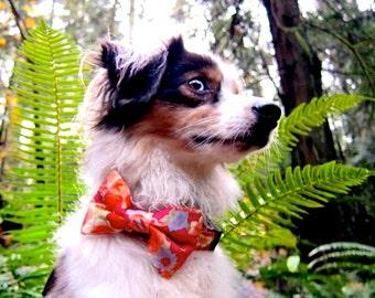Japanese Kimono Design Origami Crane Bow Tie Dog Collar - Pink