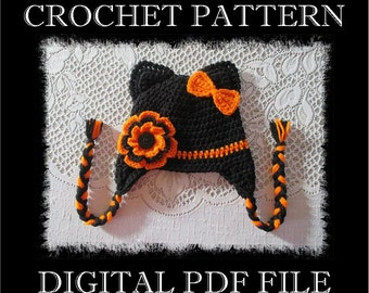 PDF PATTERN - Halloween Kitty Cat with Flower and Bow Crochet Hat Pattern