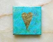 Golden heart -  gold leaf heart - acrylic painting -  home decoration - green, turquoise, blue - 12x12 cm