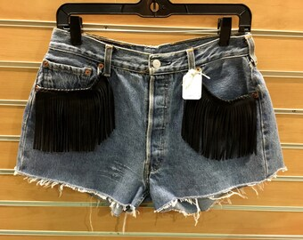 Vintage Levis Cut Off Shorts with Black leather Fringe and Western Cut Outs