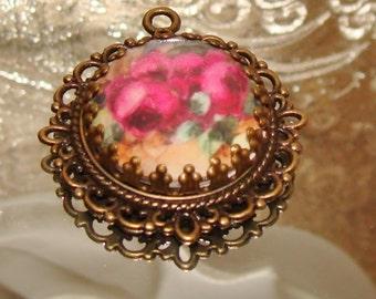Ruby red rose art print image bead charm diy jewelry making Pamelia Designs