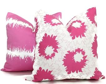 Studio Bon Pink and White Graphic Design Decorative Pillow Cover 18x18, 20x20, 22x22, Euro or Lumbar pillow - Accent Pillow, Throw