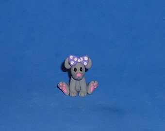 Polymer Clay Sitting Mouse with Purple Bow