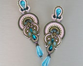 Soutache Clip-On Earrings / khaki, rosa, turquoise