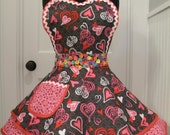 Valentines Apron-Womens Apron-Victorian and Candy Hearts Valentines Flounce Apron