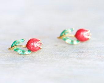 Red Tulips Earrings - Vintage Stud Earrings - Art Nouveau Enamels