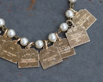 10 Commandments bracelet with patina - Vintage Charm Bracelet