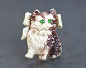 Kitten lapel pin - Antique Celluloid Cat Brooch
