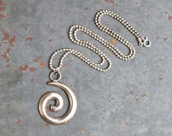 Silver Spiral Necklace - Modern Statement Round Pendant on Ball Chain - Made in Italy