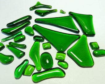Kiln Formed Green Glass Mix 25 pieces (919)