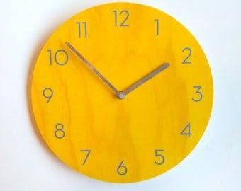 Objectify Mustard Shade Wall Clock With Neutra Numerals - Medium Size