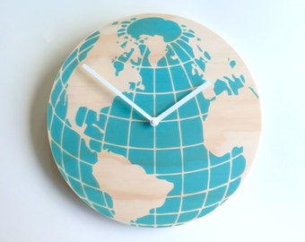 Objectify Blue Globe Wall Clock - Medium Size