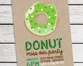 Personalized Printable St. Patrick's Day Donut Invitation - St. Patrick's Day Invite - Classic Donut with Faux Glitter Text .. sp04