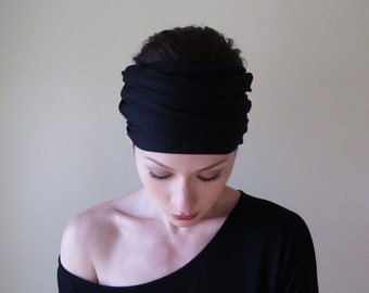 BLACK Yoga Headband - Extra Wide Jersey Head Scarf - Boho Hair Wrap - Bohemian Headscarf - Hair Accessories - Womens Hair Accessory