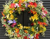 Summer Floral Door Wreath - Flower Wreath - Spring Summer Door Decor