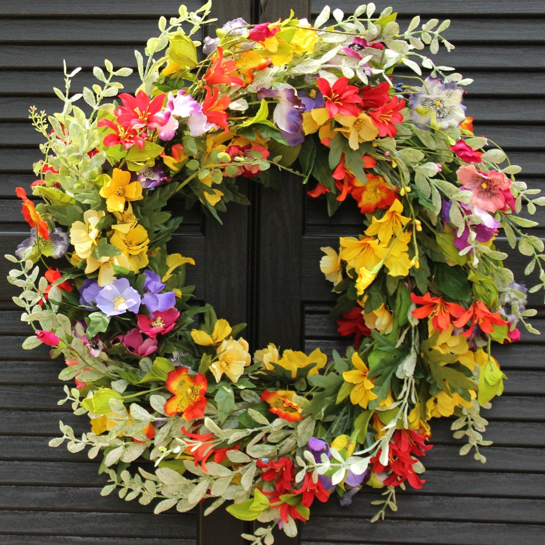 Summer Floral Door Wreath Flower Wreath Spring Summer Door