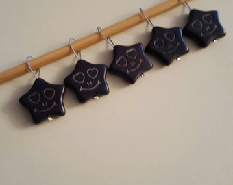 Black Star with Smiley Face Knitting Stitch Markers