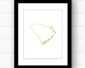 South Carolina home decor | South Carolina art print | Charleston, South Carolina home | gold foil art print | gold foil South Carolina home