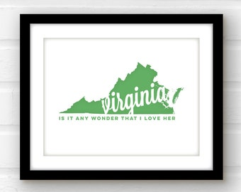 Virginia home decor | Virginia art print | Richmond Virginia art | Norfolk Virginia sign | Chesapeake Virginia print | Virginia wall art