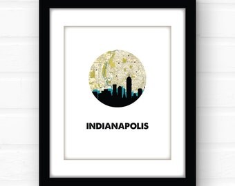 Indianapolis skyline | Indianapolis map art | Indianapolis art | Indianapolis print | city skyline print | Indiana art | Indiana map print