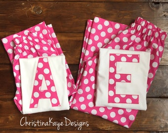 Custom initial Girls pink polka dot pajamas