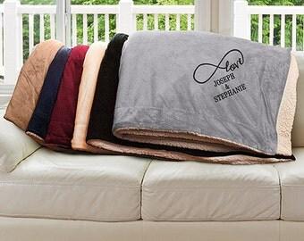 Embroidered Infinity Sherpa Blanket, gift, blanket, anniversary, couple, love, custom, throw blanket, marriage -gfyE8246184X